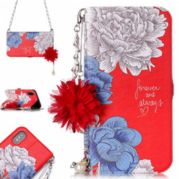 Phone Case For Samsung S5 Australia - Luxury Stereo Wallet Case with chain Card slot Leather Phone Cover Colorful Flowers Pattern Cases For iPhone X 8 7 6 5 plus Samsung S5 6 7 8