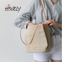 Woven Tote Bags Wholesale NZ - HISUELY Summer Women Durable Weave Straw Beach Bags Feminine Linen Woven Bucket Bag Grass Casual Tote Handbags Knitting Rattan