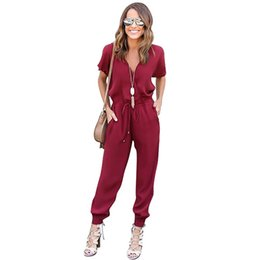 women clothing jumpsuits UK - XiaGuoCai 2017 Deep V Sexy Women Jumpsuits Wine Red Boot Cut Chiffon Female Rompers Fashion Clothing G45 35