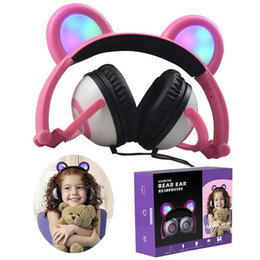 Bears headphones online shopping - Xmas Gift Cat Ear Headphones Glowing Cute Bear Gaming Headset Foldable Earphone with LED light For PC Laptop Computer Mobile Phone Colors