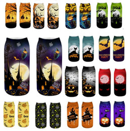 Wholesale cool 3d socks online – funny 2019 New Arrival Halloween short Socks Unisex Men Women Kids D Print Pumpkin Bat Cool Polyster Novelty boat Socks Ankle Stocking