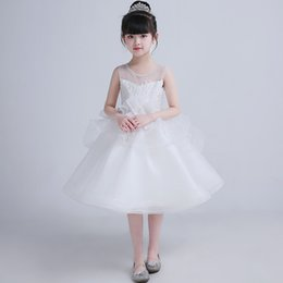 prices purple wedding dresses UK - Modern Design Wholesale Price Girl's Knee Length Party Dress Beautiful Lace Appliques Children Dress White Tulle
