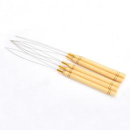 $enCountryForm.capitalKeyWord Australia - New 5Pcs Wooden Handle Hair Extensions Loop Needle Threader Pulling Tool Hot Selling H7JP