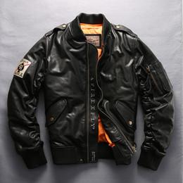 Discount green jacket leather - AVIREX FLY jacket Men 's Down Jacket Black SheepSkin stand Collar Baseball genuine Leather men winter coat for me