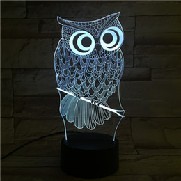 owls lamps 2019 - New Remote Control 3D Owl Table Lamp USB Colorful 7 Color Change LED Home Party Bedroom Decorative Night Light Gift wn28
