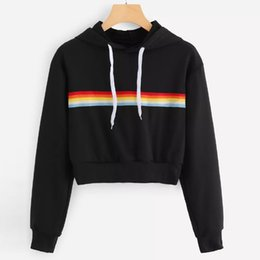 In Quality Free Shipping Single Side Striped Print Women Crop Top Shirts Pullover Hoodie Sweatshirts For Woman Clothing Befree Superior