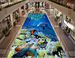 designer kitchen wallpaper UK - Underwater World Bathroom 3D Art Floor Tiles wall papers home decor designers
