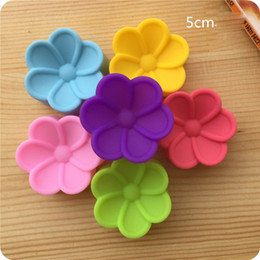 cupcakes mix Australia - 5cm Flower Muffin Cup Soft Silicone Cake Chocolate Mould Flower Cupcake Baking Cup Mix Colors Wholesale