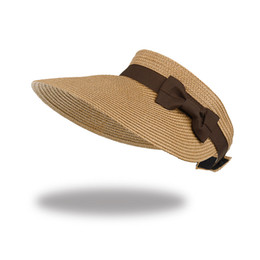 595e2e5c99859 Womens Empty Top Beach Sun Hat UV Protective Roll-Up Summer Visor Solid  color with Bowknot Femal Paper Straw Hat