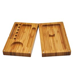 Roll cigaRs online shopping - 22 cm two plate dry Tobacco Rolling machine operating floor solid wooden cigarette tray cigar Smoking Storage Case high quality