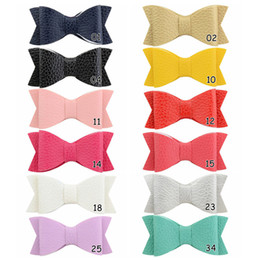 Leather bow headbands online shopping - 12pcs inch Boutique Leather beautiful Bowknot With Solid Bow Hairpins kids Sweet Hair Accessories HD808