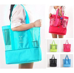 Cool tote lunCh bag online shopping - Mulifunction Lunch bag Insulated Cooler Picnic Handbag Outdoor Travel Beach bags Kitchenware Makeup Storage Bags Mesh Tote students bags
