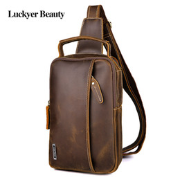 Discount cell phone chest packs - LUCKYER BEAUTY Brand Leather Men's Shoulder Bag for Cell Phone Chest Pack Casual Tote Messenger Bag Vintage Male Cr