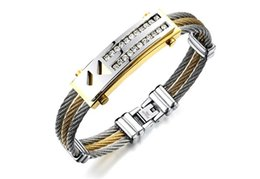 18k korean jewelry sets UK - Korean fashion double triangle double row wire rope bracelet trend personality men's jewelry gift