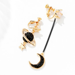 $enCountryForm.capitalKeyWord Canada - new fashion brands asymmetry moon star design clips earing without piercing jewelry for women bridal jewelry best Christmas gift