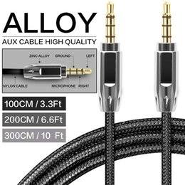 Nylon Cord Connectors NZ - Zinc Alloy Polished Metal Connectors Male To Male Aux Audio Cable 3.5mm Auxiliary Nylon Braided Stainless Steel Cord Black Silver Rose Gold