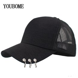 Discount bones black dad hat - YOUBOME Women Mesh Baseball Cap With Rings Snapback Hats Caps For Women Summer Hip Hop Casquette Girls Bone Solid Dad Ca