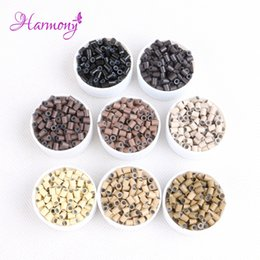 $enCountryForm.capitalKeyWord Australia - Harmony Plus1000pcs 3.4*3.0*4mm hair micro rings beads for loop i tip hair extensions copper silicone tube 8 colors available