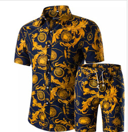 China Mens Floral Pint Button Cardigan Tshirt Shorts Sets Hawaiian Short Sleeved Tees Casual Outfits Summer Fashion Suits Plus Size cheap cotton cardigans plus size suppliers