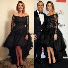 petite long black evening skirt NZ - Black Dresses Evening Wear Lace High Low Long Sleeve Prom Fomral Dresses 2018 Plus Size Bateau Tiered Skirt Evening Celebrity Carpet Dress