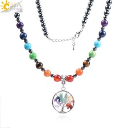 hematite pendants NZ - CSJA Long Natural Stone Necklace with 7 Chakra Chips Tree of Life Pendant for Women Men Vintage Black Hematite Reiki Healing Jewelry F001