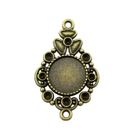 alloy cameo settings NZ - 25 Pieces Cabochon Cameo Base Tray Bezel Blank Accessories Jewelry Decorative Connector Inner Size 12mm Round Necklace Pendant Setting