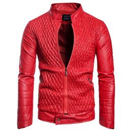 Venta al por mayor de Chaqueta de cuero de la chaqueta de cuero de la PU del diseñador para hombre Chaqueta de cuero de imitación ocasional del otoño abrigo fino del invierno Envío gratis
