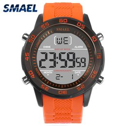 smael watches Canada - SMAEL Sport Watch Waterproof Man Orange Fashion LED Watch Casual Alarm Clocks Electronic Smart Digital Watches Silicone Men 1067