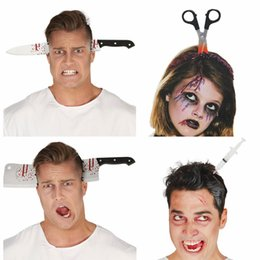 Scary Bloody Axe Needle Saws Scissors Headband For Men Women Headwear Tricky Toys Dress Costume Party Halloween Christmas Non-Ironing Accessories Hair Accessories