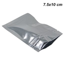 $enCountryForm.capitalKeyWord NZ - 7.5x10 cm Silver Resealable Mylar Bags with Zipper Aluminum Foil Ziplock Packing Pouch for Dried Dehydrated Fruit Foil Baggies with Notches