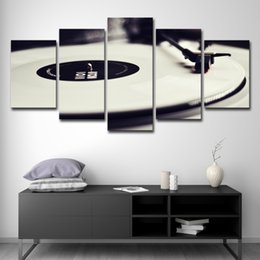 Music Canvas Prints Australia - Canvas Wall Art Pictures Framework Home Decor 5 Pieces Phonograph Paintings HD Prints White Music DJ Console Turntables Poster