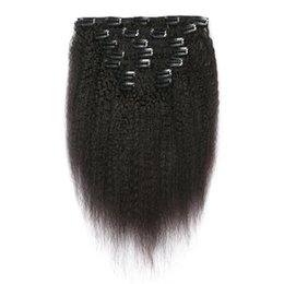 """$enCountryForm.capitalKeyWord UK - 18"""" 20"""" 24"""" Coarse Yaki Brazilian Kinky Straight Human Hair Clip In Hair Extension 7 Pieces And 120g Set Natural Color Remy Hair"""