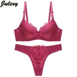 6eb9cdb048 Julexy Sexy Thongs Women Bra Set Push Up Lace Underwear Set Solid 80 85 90  95 B C Cup Intimate Plus Size Bra Panty