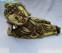 Wood Art Sculpture Australia - Wedding Decorations Art Collection Chinese Brass Carved Sleeping Buddha Statue  Home Decoration Metal Sculpture