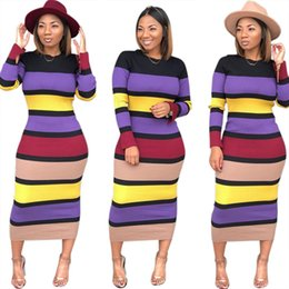 Wholesale Stretchy Dresses NZ - women long sleeve dress striped long bodycon skirts sexy skinny pencil dresses stretchy mid-calf dresses ladies designer fall clothes DHL