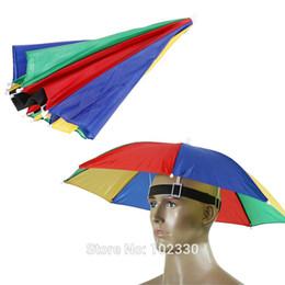 Sunny Hats Australia - 50pcs Umbrella Hat Golf Fishing Camping Headwear Cap Rain Sun Umbrella Wearing Head Portable Hats For Beach Outdoor