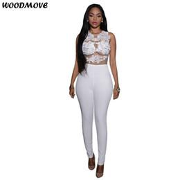$enCountryForm.capitalKeyWord Canada - Women Long Jumpsuits 2018 New Fashion Sexy Lace Stitching Hollow Hook Flower Sheath Perspective Sleeveless High Waist Jumpsuit