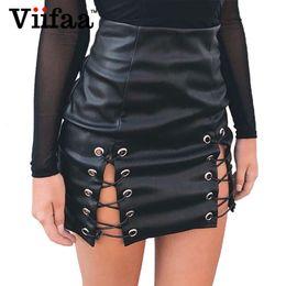 $enCountryForm.capitalKeyWord NZ - Viifaa Women PU Faux Leather Skirt Lace Up Sexy Mini Pencil Skirt 2018 Summer High Waist Short Black Skirts S916