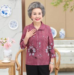 Chiffon Blouse Printed Summer Cardigan Shirt Middle Age Mother Plus Size  Women Button Top Granny S Clothes 3e4e6a1de842