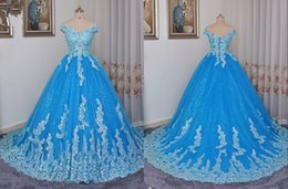 Wholesale ivory lace tulle fabric resale online - Elegant Off shoulders Blue Quinceanera Dresses V neck Short Sleeve Applique Lace Sequined Fabric Tulle Corset Back Cheap Prom Sweet Dress