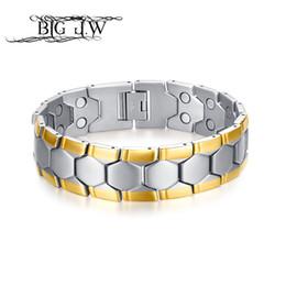 Vente en gros GRAND J.W Soins de santé Bracelets Bracelets Thérapie Magnétique Puissance Football Design En Acier Inoxydable Charme Bracelet En Acier pour Femmes Bijoux