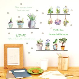 Discount summer home decor Summer green plant flower potted wall sticker succulents cactus flower shelf bedroom living room kitchen home garden dec