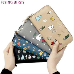 Zipper Fly Bird Leather Australia - Flying birds women wallet leather purse dollar price high quality Cartoon Wizard prints card bag female pouch coin bag LM4385fb