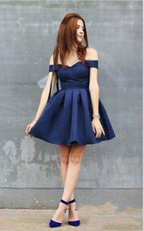 Beautiful lace cocktail dresses online shopping - Beautiful Off Shoulder Navy Blue Arabic Homecoming Dresses Satin Sleeveless Knee Length Short Prom Dress Cocktail Graduation Party Club Wear