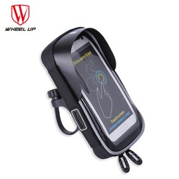 waterproof touch screen cell phones Canada - wholesale Bicycle Phone Bag Touch Screen Cell Phone Holder Bicycle Handlebar Bags MTB Bike Frame Pouch Bag Waterproof For GPS