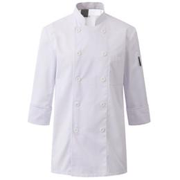 Hotel Restaurant Uniform Canada - Black White Poly Cotton Long Sleeve Shirt Hotel Restaurant Chef Uniform Bistro Diner Catering Kitchen Staff Cook Work Wear B80