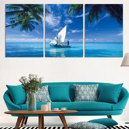 $enCountryForm.capitalKeyWord NZ - 3 Pcs Ocean Sailing HD Printed Canvas Prints Painting Wall Pictures For Living Room Wall Art No Frame