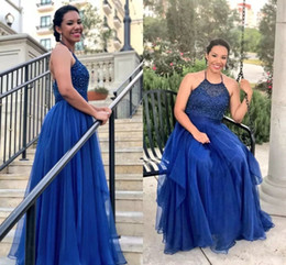royal blue silk evening dresses NZ - Plus Size Royal Blue Prom Dresses 2018 New Halter Neckline Beaded Bodice A Line Floor Length Chiffon Formal Dresses Evening Plus Size