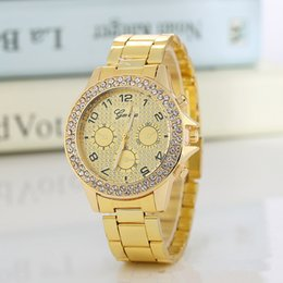 geneva business watch NZ - New Style Business Gold Color Three Eyes Six Pin Diamond Steel Band Geneva Quartz Relogios Watch