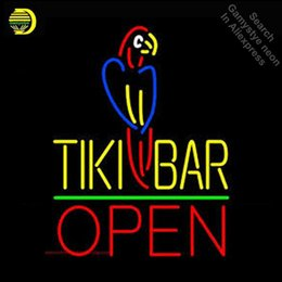 China Tiki Bar With Parrot Open NEON LIGHT SIGN Neon Sign REAL GLASS Tube BEER BAR PUB Light Store Display Handcraft Iconic cheap parrot display suppliers
